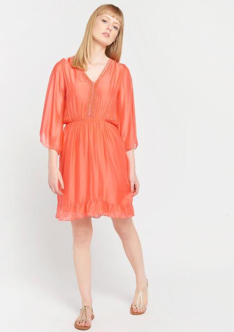 Robe mini soie - CORAL GERBERIA - 08006065_5405