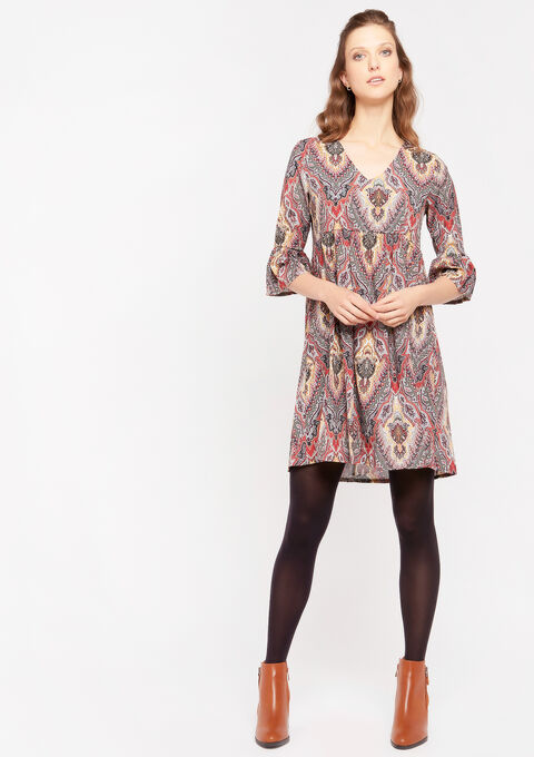 Mini babydoll dress - KHAKI BRONZE - 08101613_1850