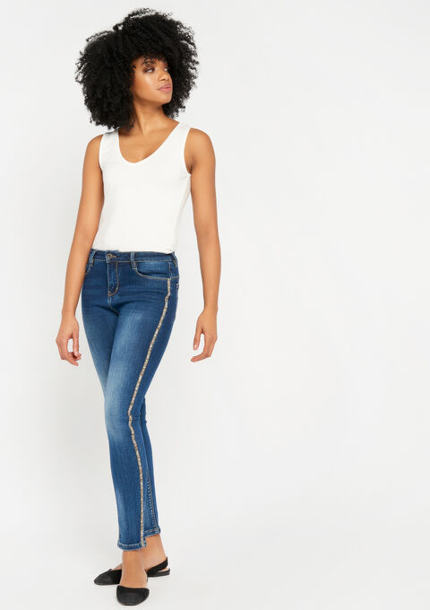 Skinny jeans met glanzende tape - MEDIUM BLUE SKY - 22000063_1583