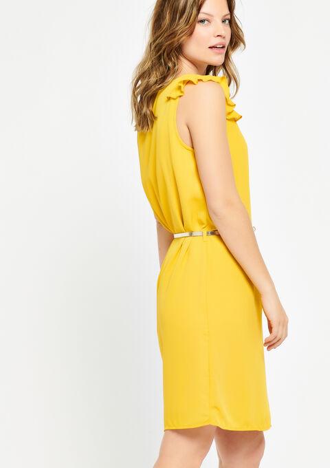 Mouwloze jurk met riem - LEMON CURRY - 08100452_1237