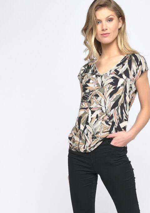 T-shirt met bladmotief - PINK BLUSH - 02300653_1315