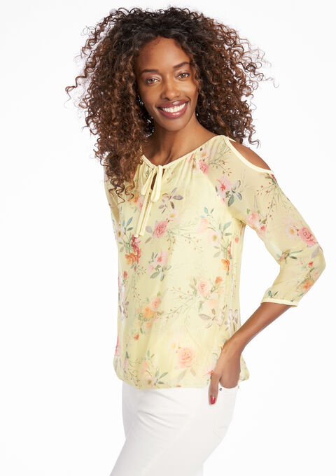 Blouse met bloemenprint & open schouders - LIGHT YELLOW - 05003475_5002