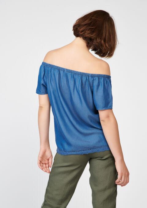 Blouse in tencel met open schouders - LT BLUE DENIM MEL - 05003353_1636
