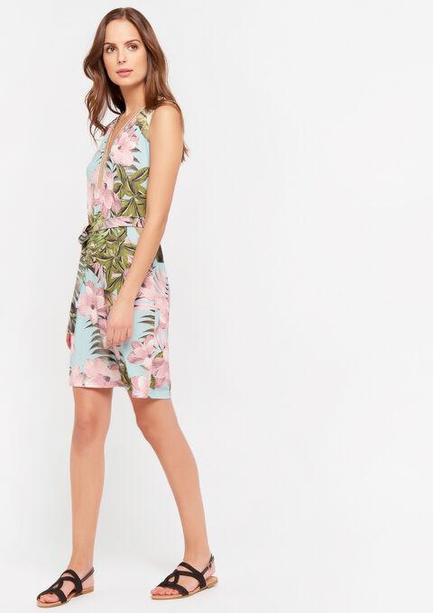 Midi jurk met bloemenprint en V-hals - BLUE PASTEL - 08102217_3003