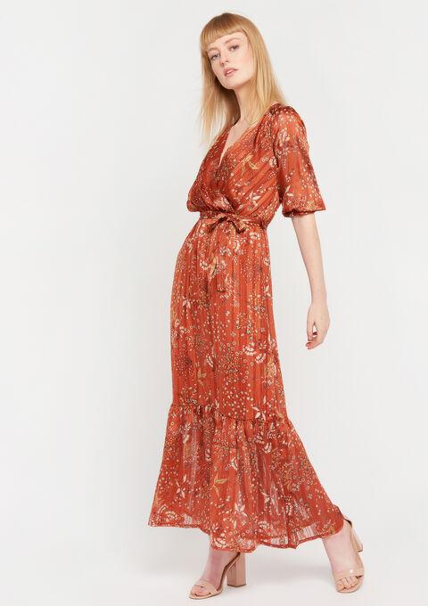 Maxi robe imprimé fleurs - BRIQUE ORANGE - 967921