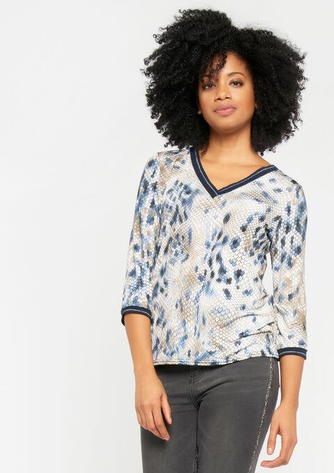T-shirt met v-hals en python print - LIGHT BLUE - 02300152_1709