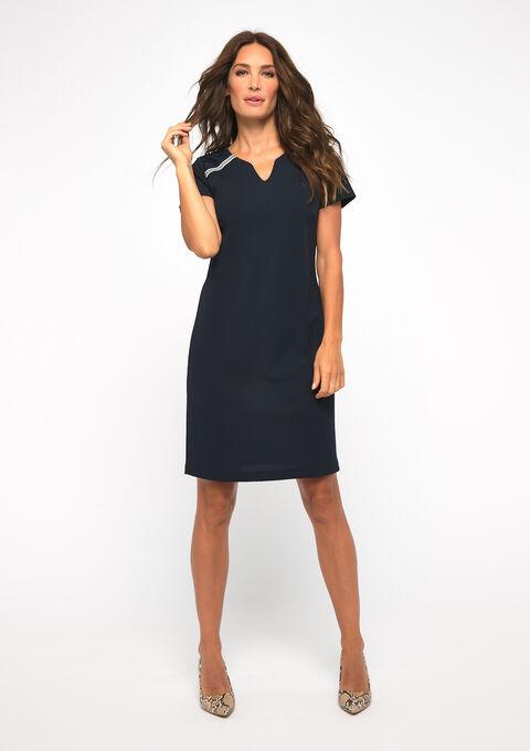 Mini rechte jurk - NAVY BLUE - 08101596_1651