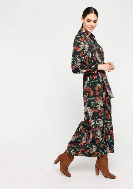 Robe chemise imprimé jungle - BLACK - 08601062_1119
