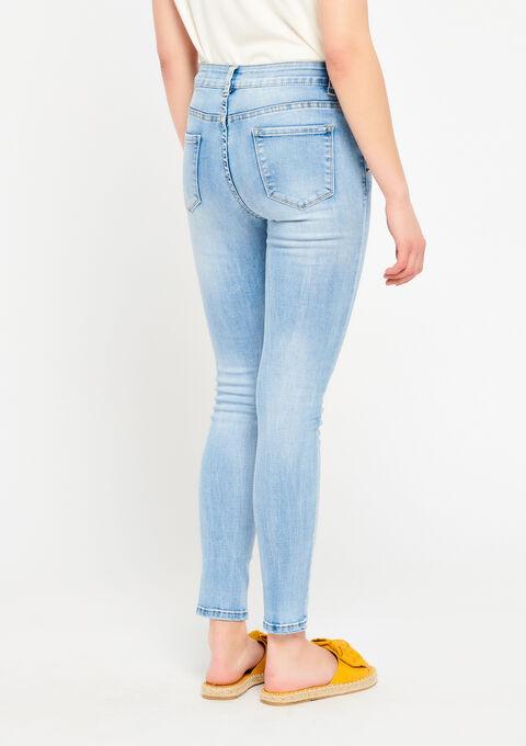 Skinny jeans met strass op de zakken - BLUE BLEACHED - 22000096_502