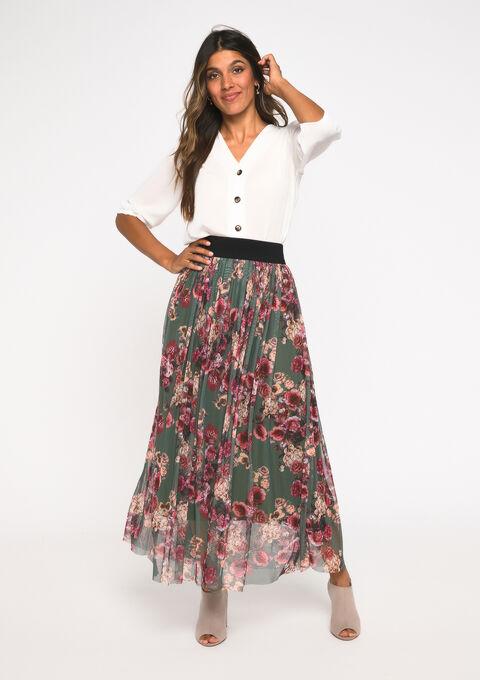 Maxi jupe plissée - KHAKI DARKY - 07100262_4208