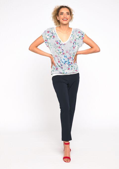 T-shirt imprimé rayures et fleurs - WHITE ALYSSUM - 02300409_2502