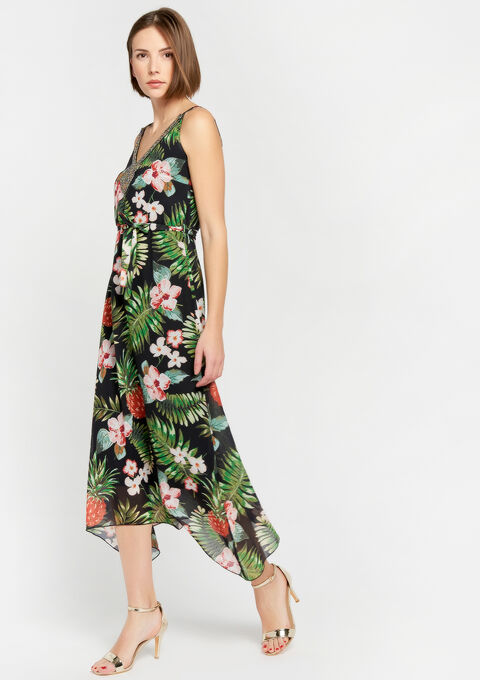 Lange jurk met tropische print - GREEN GARDEN - 08600141_4607