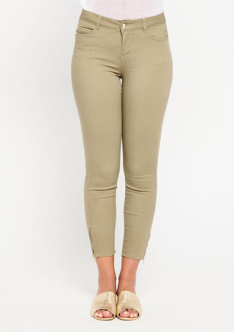 Slim fit broek met enkel-rits - KHAKI DUSKY - 918448