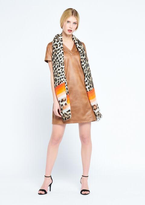 Gestreepte sjaal met luipaardprint - GOLDEN OCHER - 941030