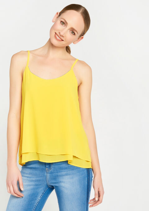 Losse top met spagettibandjes - DANDELION YELLOW - 923490