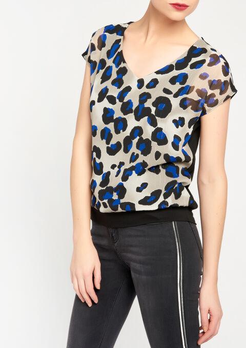 T-shirt met v-hals, luipaardprint - BLACK - 02300143_1119