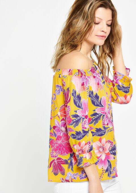 Carmen-blouse met bloemenprint - LEMON CURRY - 05700247_1237