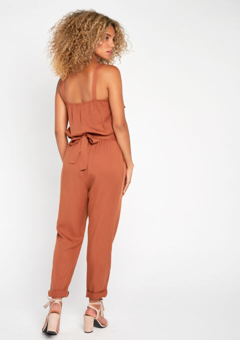 Jumpsuit in tencel - TERRACOTTA - 911958
