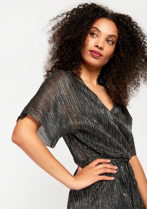 Zilveren mini-jurk met v-hals - SILVER - 08100378_1059