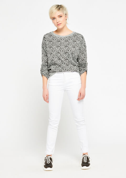 Sweater met luipaardprint & lurex - GREY MILD MEL. - 03001349_3504