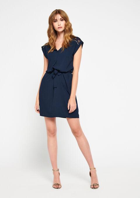 Mini jurk met kant - PEACOAT BLUE - 960103