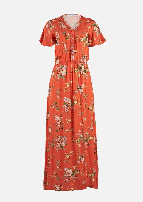 Maxi jurk bloemenprint met split - CORAL SALMONE - 08601114_5409