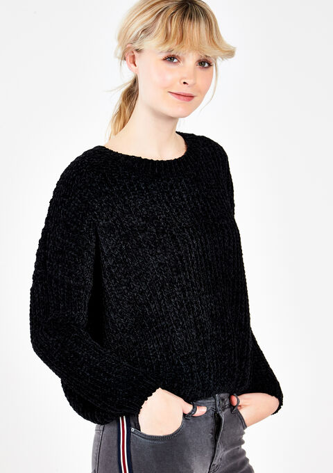 Pull chenille tout doux - BLACK - 04004260_1119