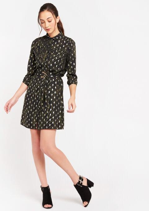 Mini hemd jurk met glanzende print - KHAKI TAN - 08102153_4319