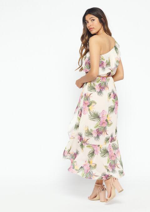 Lange jurk met tropische print - PINK SPRINGY - 947837