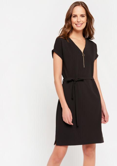 Midi jurk met ceintuur en rits - BLACK BEAUTY - 08102196_2600