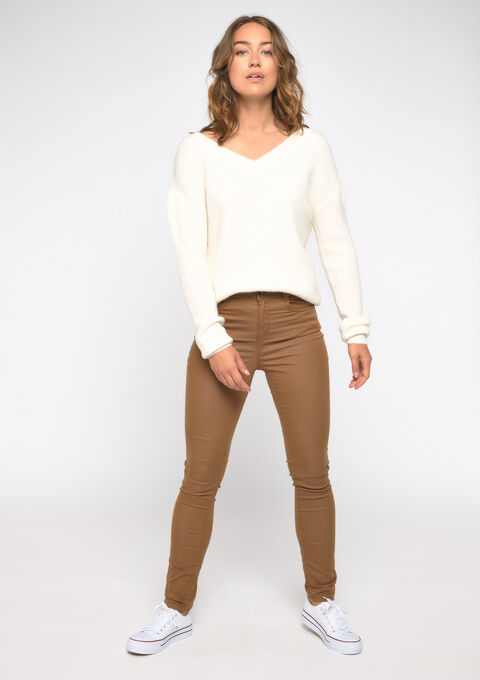 Slim fit broek met hoge taille - CAMEL DESERT - 06003891_3815
