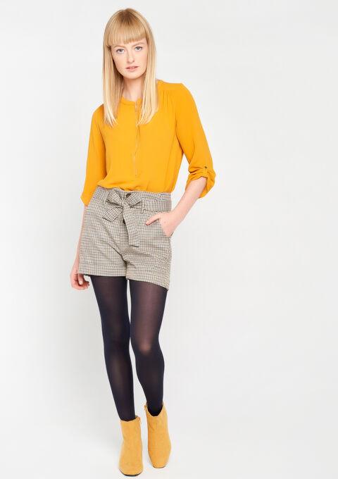 Effen blouse met oosterse kraag - WARM OCHRE - 05003463_1218