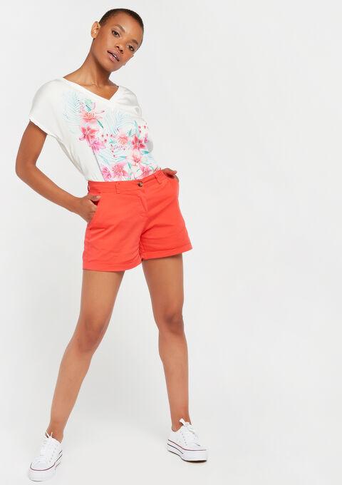 Chino shorts - CORAL GERBERIA - 06100216_5405