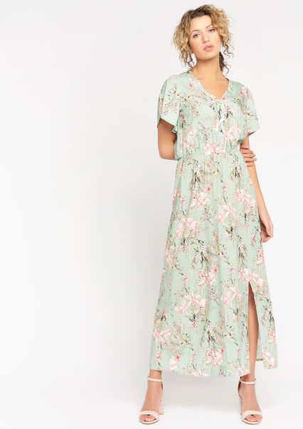 Maxi dress with tropical print - ALMOND GREEN - 08601329_1724