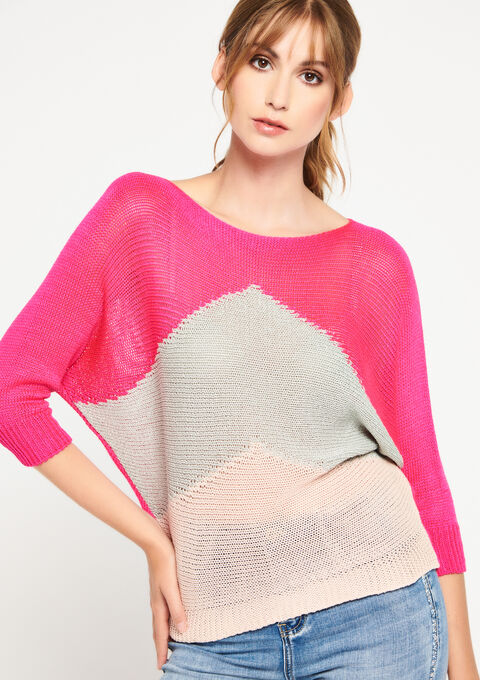 Pull color block - FLUO PINK - 04004925_5727