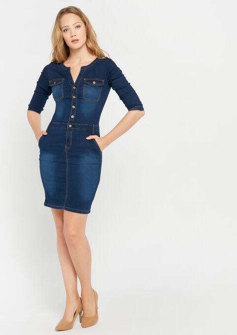 Denim jurk - BLUE DENIM - 08100707_1638