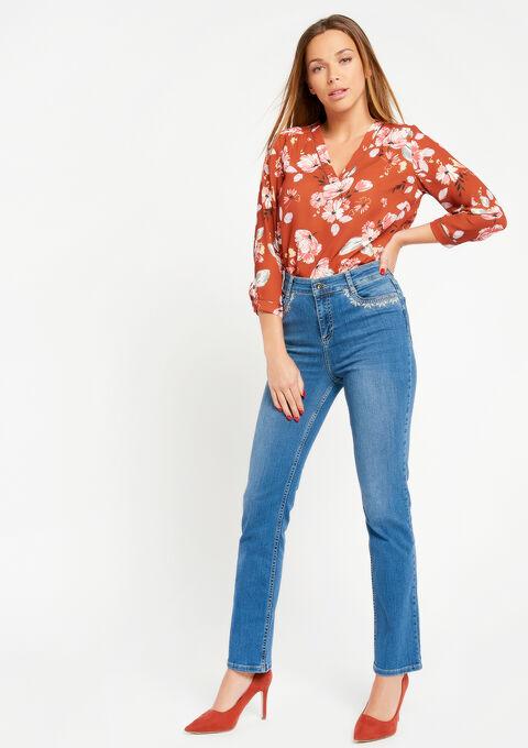 Jeans met hoge taille en borduursel - MEDIUM BLUE - 22000074_500