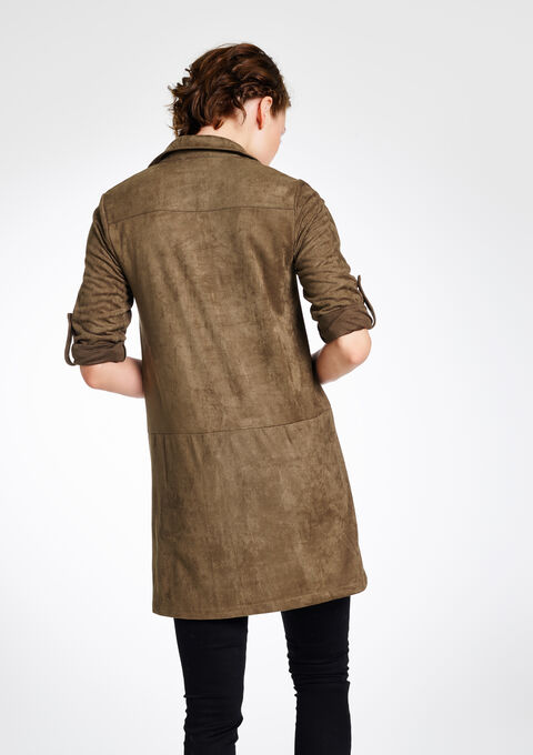 Suede jurk met lange mouwen - KHAKI - 794454