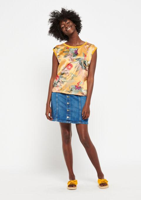 T-shirt met tropische print - LEMON CURRY - 02300287_1237