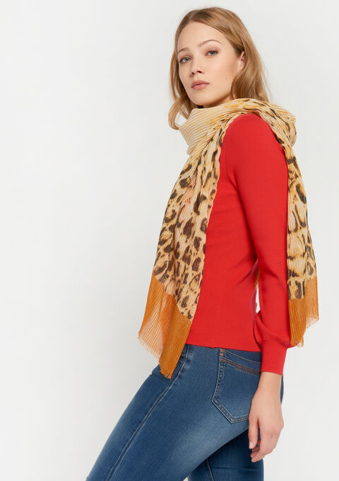 Plissé sjaal met luipaardprint - YELLOW OCHER - 969176