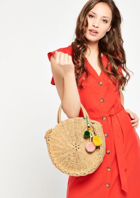 Round Wicker basket-style bag. - CAMEL ALMOND - 950880