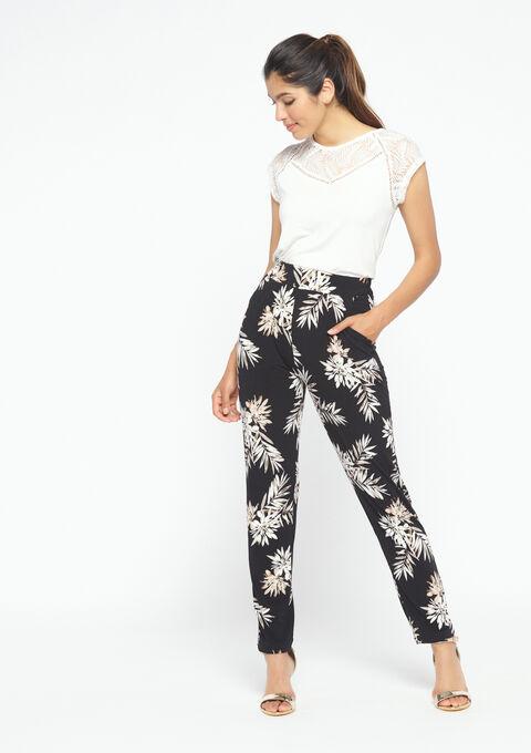 Jogging met bloemenprint - BLACK - 06600076_1119