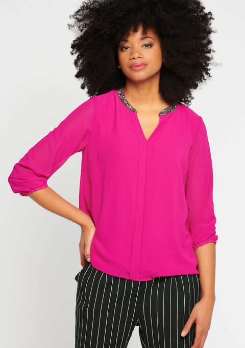 Effen blouse, kraag met lovertjes - VIOLET VIVID - 917645