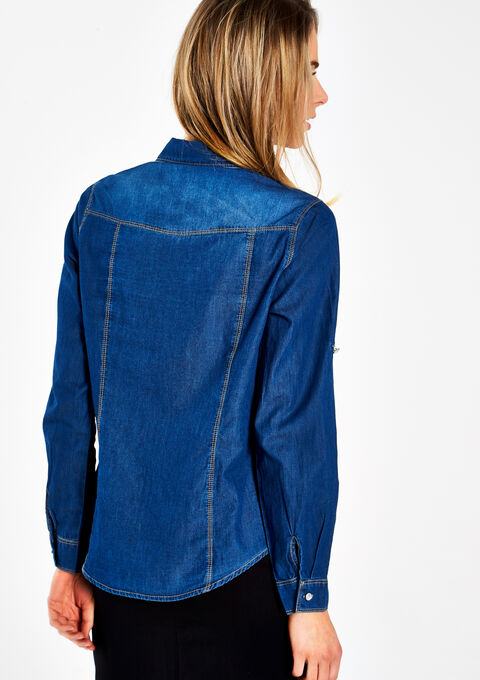 Jeanshemd met strass bloemen - MEDIUM BLUE - 05003318_500