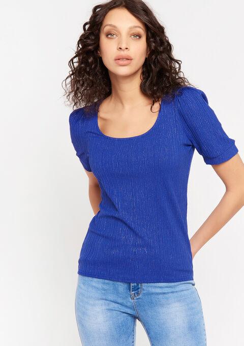 T-shirt lurex diepe ronde nek - BRIGHTY BLUE - 02300686_2807