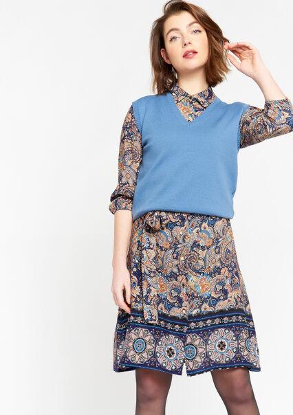 Débardeur tricot avec décolleté en V - BLUE DENIM - 04005519_1638