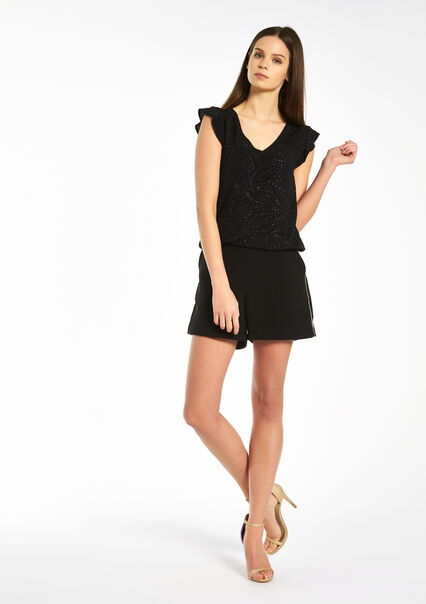 Short met hoge taille, glanzend accent - BLACK - 06003387_1119