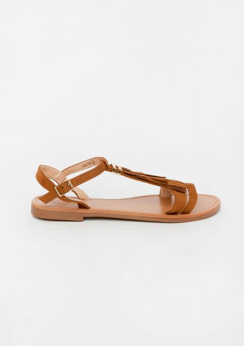 Platte sandalen met franjes - CAMEL TRUSH - 13000456_3808