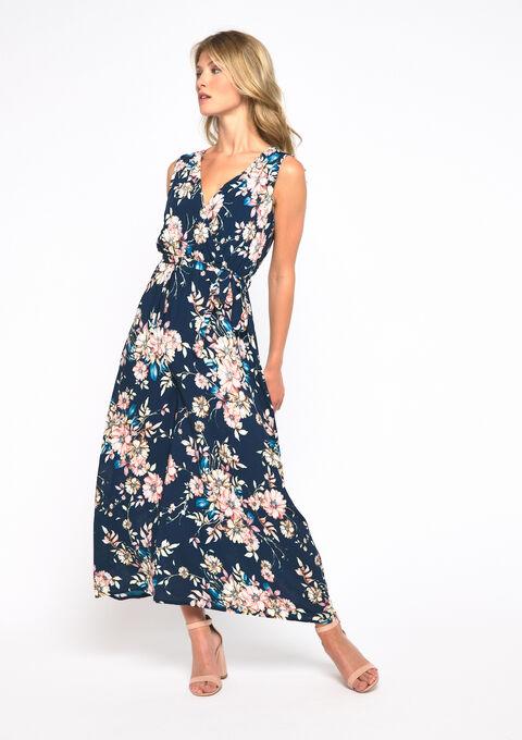 Robe longue, cache coeur, fleurs - NAVY BLUE - 969170