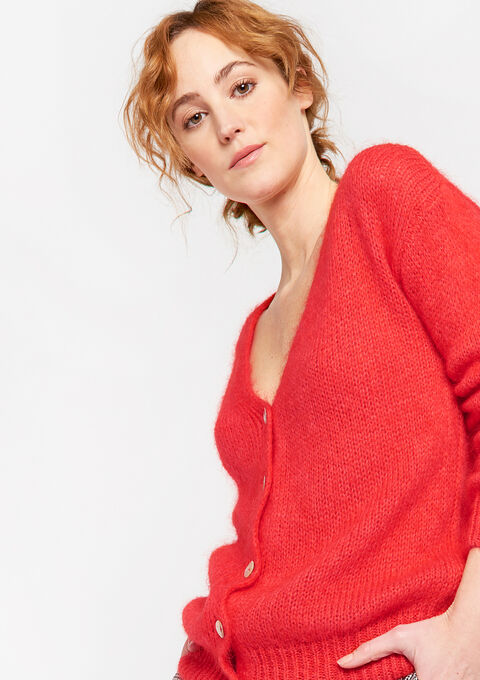 Cardigan doux avec boutons - BRIGHTY RED - 04100729_5316
